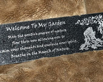 Garden Plaque - Engraved Black Granite - Pagan-Themed Inscription
