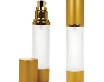 10 Frosted Bottles with Brushed Gold Treatment Pump | Upscale Airless Pump | 1.7oz/50ml Skincare Containers SET of 10