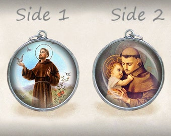 St. Francis of Assisi / St Anthony Catholic Religious Medal. Religious Pendant Double Sided 25mm. FREE Shipping