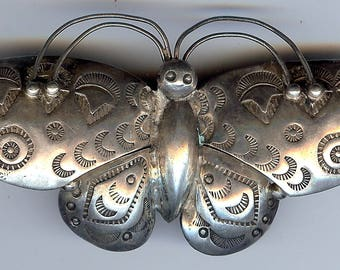 VINTAGE NAVAJO INDIAN stamped silver butterfly pin brooch