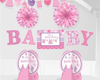 Girl's Shower With Love Room Decorating Kit - welcome new baby - brand new girl - mummy to be