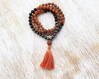 Mens Mala Beads, Mala Beads 108, Mala Bead Necklace, Hematite Lava Stone Aventurine Rudraksha Mala, 108 Mala Beads, Prayer Beads, 108 Mala