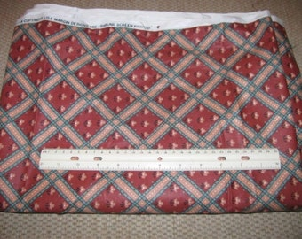 """Turquoise & Tan Plaid on Rust Polished Cotton Fabric 3 1/2 Yards x 48"""" wide"""
