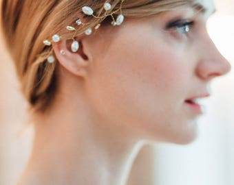 Gold hairvine bridal headband pearls