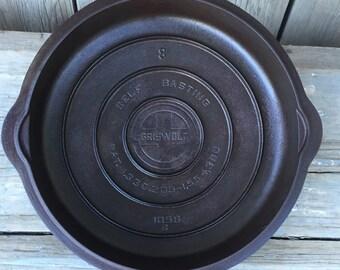 vintage griswold cast iron skillet lid, no 8 griswold skillet lid