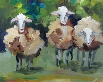 Three Fuzzy Sheep oil painting Art by Delilah