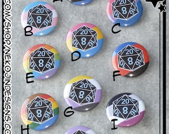 LGBT+ Pride d20 Gaming Pins - gay lesbian trans transgender asexual pansexual bisexual gender queer fluid non binary polyamory gamer gaymer