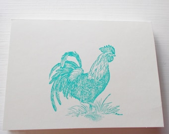 Hand Stamped Teal Blue Rooster Card Set of 5 Blank Inside Greeting Card Ivory Card Stock Encouragement, Friendship, Hello or Thank You Cards
