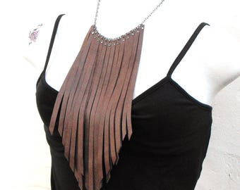 Brown fringe necklace, long leather fringe jewelry, chestnut brown leather strips and studs, southwestern boho chic, Lizi Rose