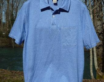 L.L. BEAN POLO medium, robin's egg light blue, single pocket, cotton, short sleeve golf shirt, blue LL Bean polo style golf shirt