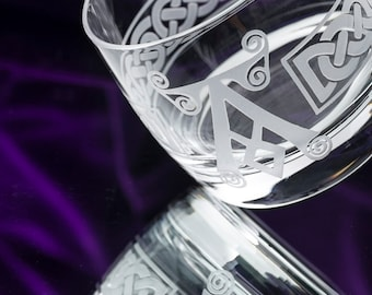 Scotch Glasses | Whiskey Glasses and Decanters | Custom Engraved | Irish Coat of Arms | for Our Irish Husbands, Fathers and Brothers
