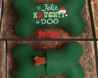 Feliz Naughty Dog Christmas Dog Toy Stuffed Squeaky Dog Bone
