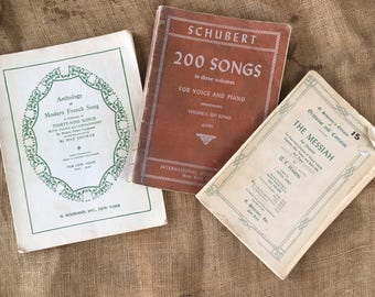 Vintage music books, vintage music score, old music pages