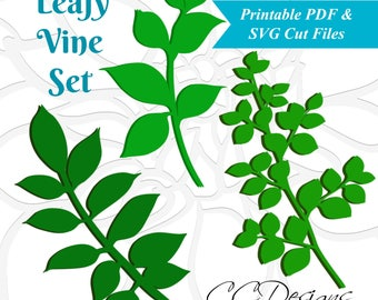 Leaf SVG Template, Leafy Vine Set, SVG cut files, Vine Cut files, Leaf Svg, Use with Giant or Small Paper Flowers,  Leaf Template