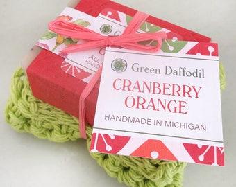 Cranberry Orange Soap and Washcloth Kit