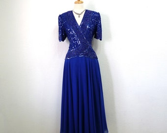 1980s Dress Royal Blue Beaded Sequin by Brilliante Prom Holiday Formal Evening Gown Large