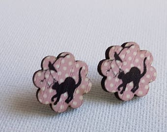 Wooden stud earrings - pink - cat and bird , quirky fun modern studs