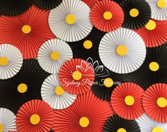 MICKEY MOUSE party paper fans backdrop/Pinwheels/Wedding backdrop/Baby shower/Bridal shower/Party backdrop/Dessert table decor/kids party