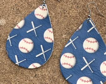 Baseball leather earrings, baseball earrings, leather earrings, leather, baseball, earrings, teardrop earrings, custom made earrings