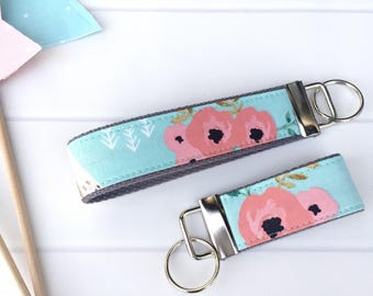 Key Fob Wristlet Floral Teepee,  Mini Key Fob, Wristlet Key Chain for Women, Fabric Key Chain, Girly Gift,  Gift for Her, Gift Under 10