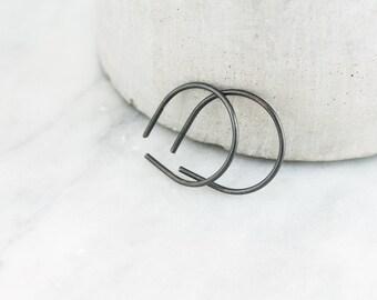 Small Black Hoop Earrings - Black Silver Earring - Simple Jewelry - Oxidized Silver Earring