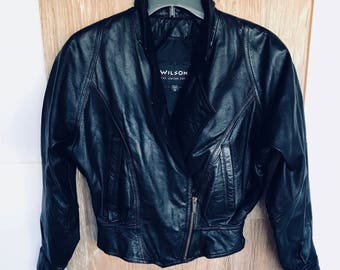 Corsett back waist biker riding jacket womens extra small, Wilson's black leather jacket with Thinsulate removable vest x sm