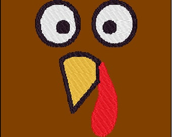 Turkey Face Thanksgiving Embroidery Design