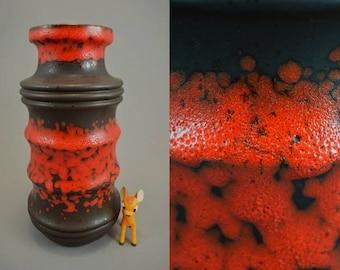 Vintage ceramic vase by Scheurich / red, dark brown / Model 266 28 | West German Pottery | 60s