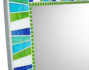 Custom Wall Mirror | Stained Glass Mirror | Mosaic Wall Mirror | Bathroom Mirror | Handmade Mirror | White, Lime Green, Royal Blue, Aqua