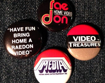 "4 cult VHS 1"" pinback buttons! FREE SHIPPING - vcr cassette video 80s horror slasher"