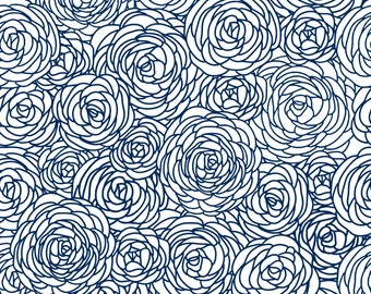 Removable Wallpaper - Blossom Print Navy