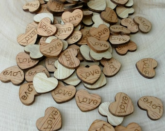 "100 Tiny ""Love"" Hearts ~ Love Wood Hearts, Wood Confetti, Engraved Love Hearts, Rustic Wedding Decor, Table Decorations, Tiny Wooden Hearts"