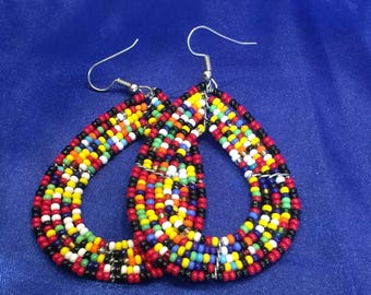 Masai Earrings - African Earrings - Beaded Earrings - Boho Earrings - Masai Jewellery - Zulu Earrings - Ethnic Jewellery - Kenyan Earrings