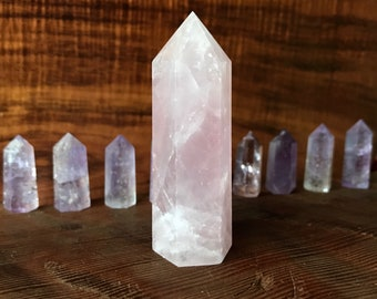 Rose Quartz Crystal Tower Point, Crystal Generator, Love Stone
