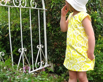 Girls yellow dress, girls dress, girls summer dress, girls pinafore, girls a-line dress, girls party dress, girls everyday dress