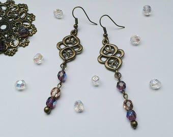 Belle Epoch, Art Nouveau, earrings, bronze jewelry, glass beads, crystal jewelry