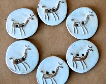 Handmade Ceramic Buttons - 6 Alpaca Buttons in Earthy Neutral Stoneware -  LlamaButtons