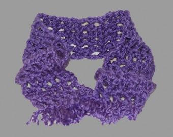 Kids Scarf, Fringe Scarf, Chunky Crochet Scarf, Kids Purple Scarf, Girls Scarf, Crochet Purple Scarf, Kids Winter Scarf, Purple Neckwarmer