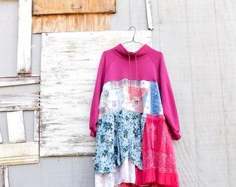 Sweatshirt Dress, Upcycled Clothing, Deer, Floral Dress, Boho Dress, Bohemian, Cotton Dress, Recycled Clothing, Womens Dress, CreoleSha