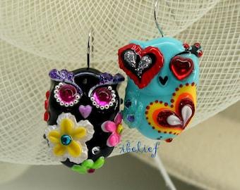 OWL earrings handmade from polymer clay EW0049