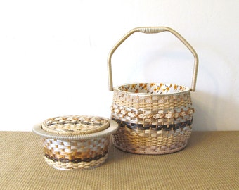 Mid Century Double Sewing Basket,  Made in Japan
