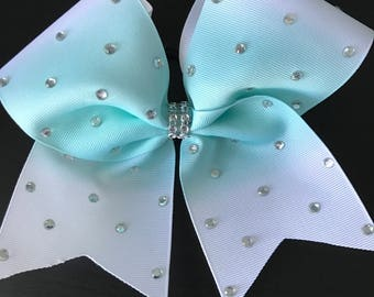 White with Seafoam Green Ombre Blinged out Cheer Bow