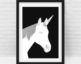 Unicorn Wall Art – Black and white Unicorn print, Nursery Print, Baby and Kids Room Decor, Digital Download, Scalable Printable - All sizes