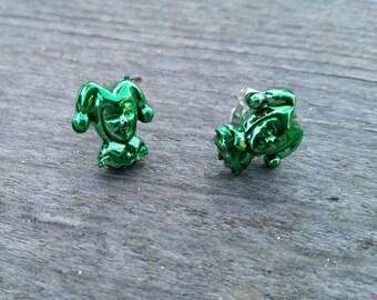Green Mardi Gras Court Jester Bead Earrings - Post or Clip on