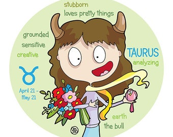 TAURUS  - ZODIAC - star sign - Limited Edition print 7 x 9 inch - Cats with attitude - PookieCat