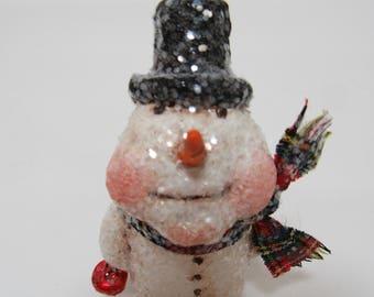 Paper Mache Snowman - folk art Snowman - Whimsical Snowman - Snowman Scupture
