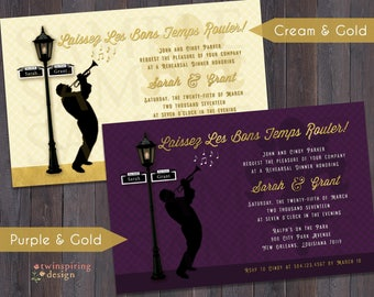 New Orleans Jazz, Lamp Post, & Fleur de Lis Invitation - DIGITAL FILE - Purple and Gold, or Cream and Gold
