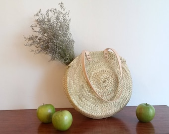 Round tote bag. Palm tree round backpack. Long leather handles this tote bag. Size S.Sac of summer. Round basket. Summer shopping bag. Straw tote.