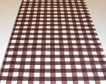 11 x 72 Inch Brown Gingham Wedding Table Runner