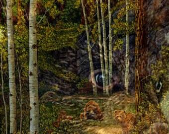 NOTE CARD, bears, forest, water, aspen trees, animals, wildlife cards, cabin decor, rustic decor, bear decor, mountains, Ellen Strope